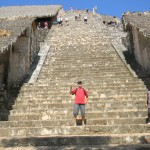Climbing the ruins of Ek Balam