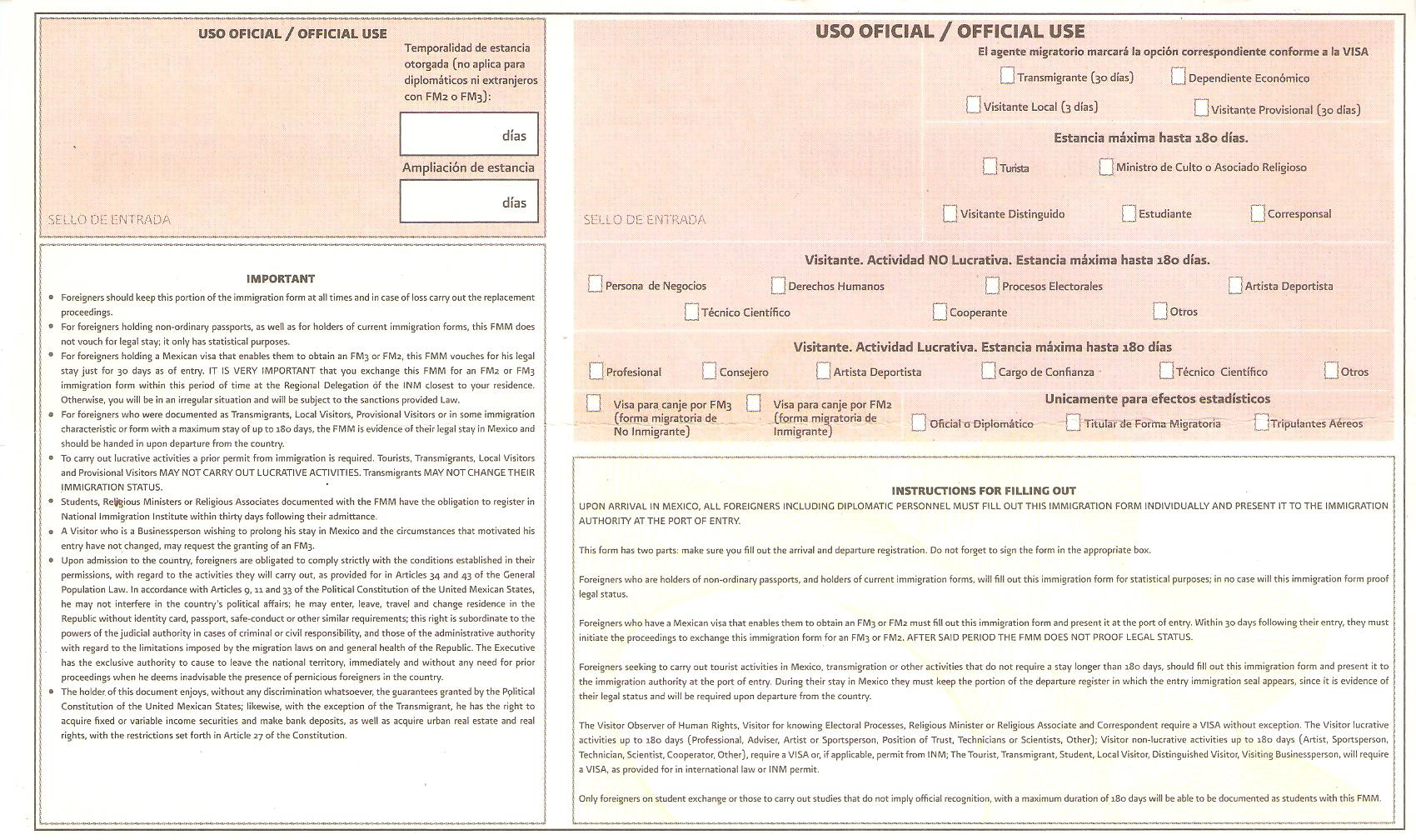Immigration and Customs forms Mexico and United States | CARM Blog