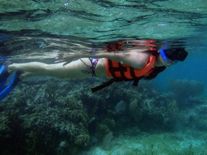 Trina Snorkeling on the reef